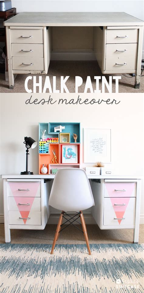 diy chalk paint metal desk makeover with chalky finish paint my s