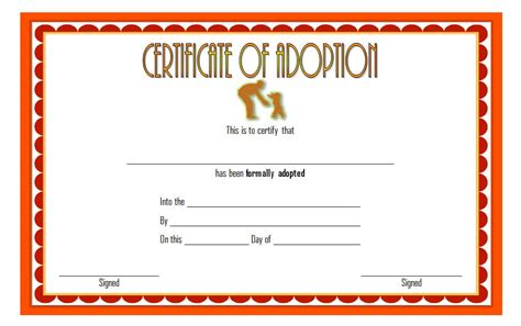 blank adoption certificate template adoption certificate template 7 the best template collection