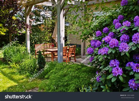 Patio Rhododendron by Outdoor Patio With Wooden Table And Chairs And Flowering