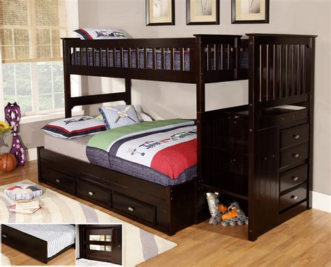 espresso stair stepper twin  full bunk bed discovery