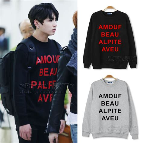 Sweater Hoodie Jaket Exo bts jungkook sweatshirt autumn and winter clothes plus velvet print bts logo in hoodies