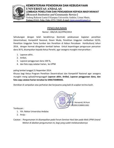 pengumuman pengunggahan laporan ke simlitabmas