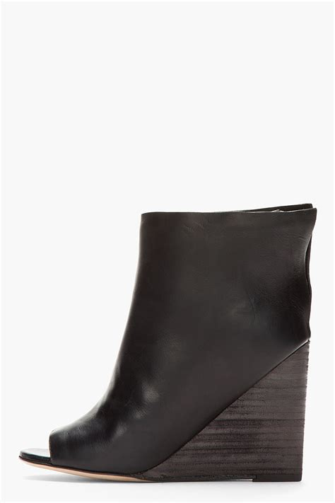 mars 232 ll black leather muro layered open toe wedge boots
