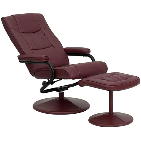 Contemporary Leather Recliners With Ottoman Contemporary Burgundy Leather Recliner And Ottoman With Leather Wrapped Base Bt 7862 Burg Gg