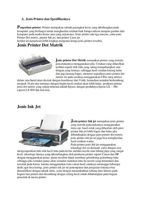 Dan Spesifikasinya jenis printer dan spesifikasinya