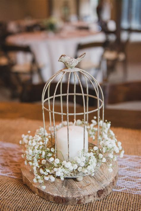 Birdcage Candle Babys Breath Rustic Centerpiece On A Birdcage Centerpieces Weddings