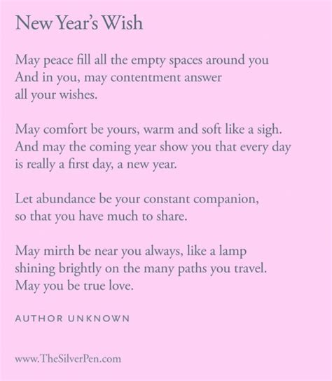 inspirational poetry new year s wish the silver pen