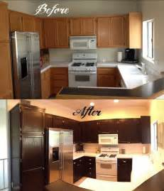 How To Paint Stained Kitchen Cabinets How To Gel Stain Your Kitchen Cabinets Stained Cabinets