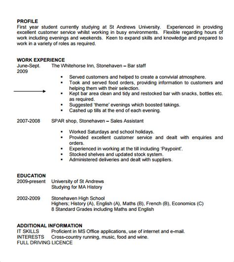 cv student template sle student cv template 9 free documents in