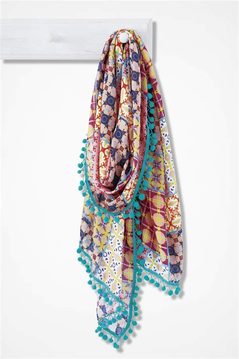 Patchwork Prints - patchwork print pompom scarf coldwater creek