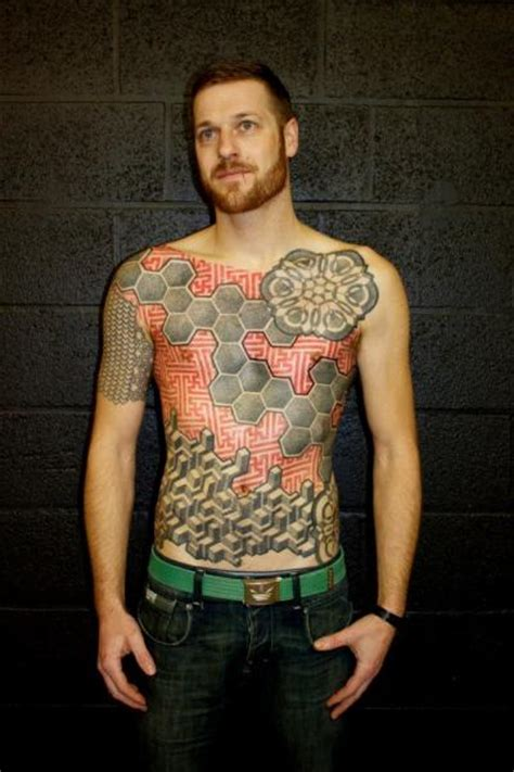 chest belly dotwork tattoo by beautiful freak