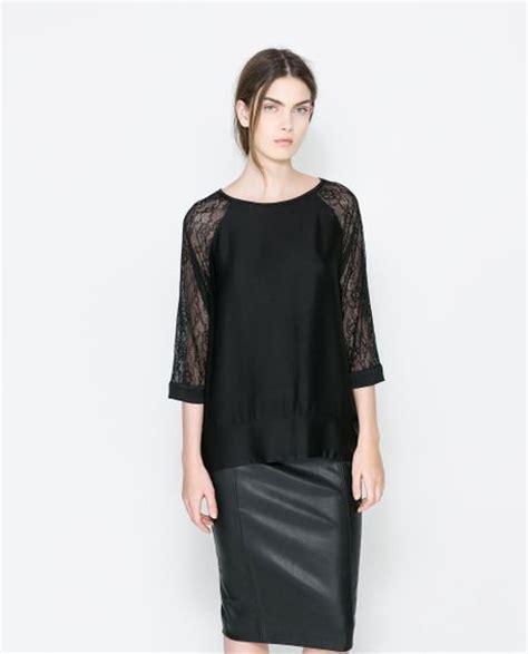 Zara Jumbo Blouse By Hana zara lace blouse black dressy blouses