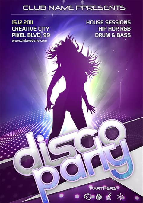 disco party flyer template psd