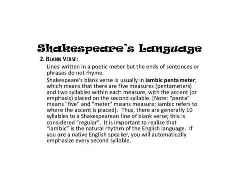 shakespeare s use of blank verse