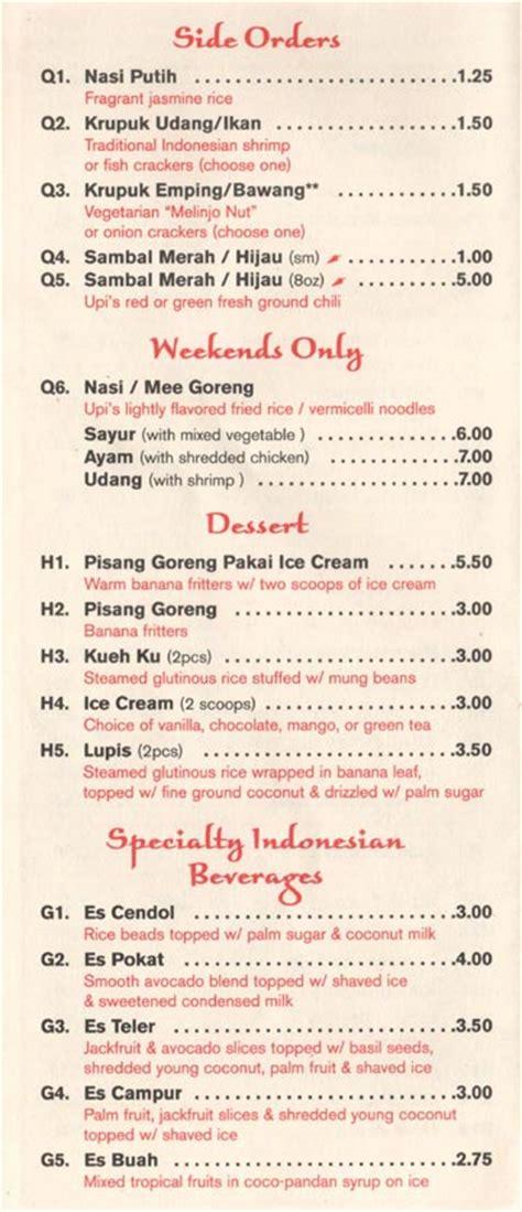 upi jaya menu indonesian   woodside avenue