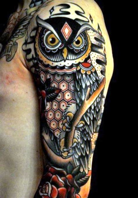 owl arm tattoos owl sleeve tattoos owl and