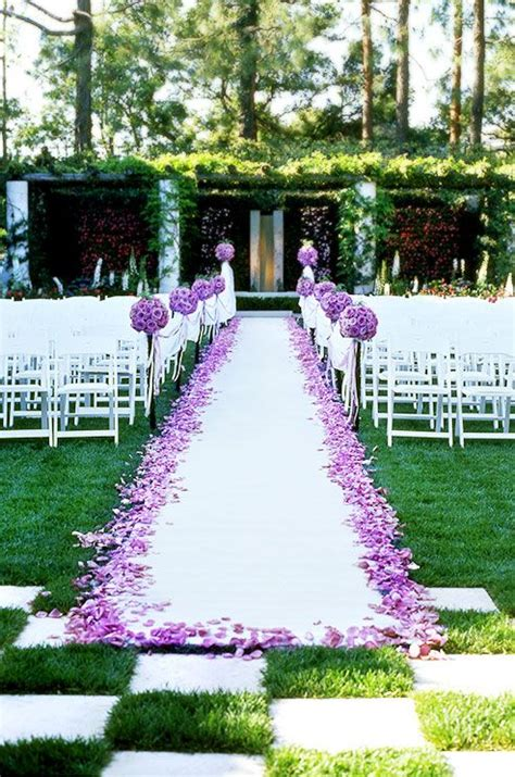 Rose Petal Aisle Runner Purple Wedding Ceremony Entrance Purple Wedding Pinterest Runners Wedding And Fresh Green