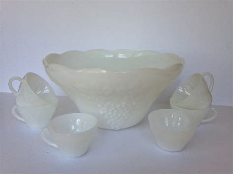 vintage design milk white punch set vintage white milk glass punch bowl and cup set anchor
