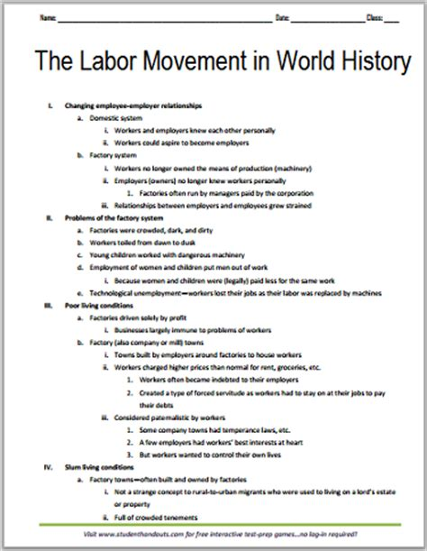 Outline History Of Indian by Labor Movement Free Printable Outline Student Handouts