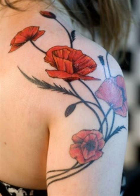 adorable poppies tattoo ideas to look peaceful