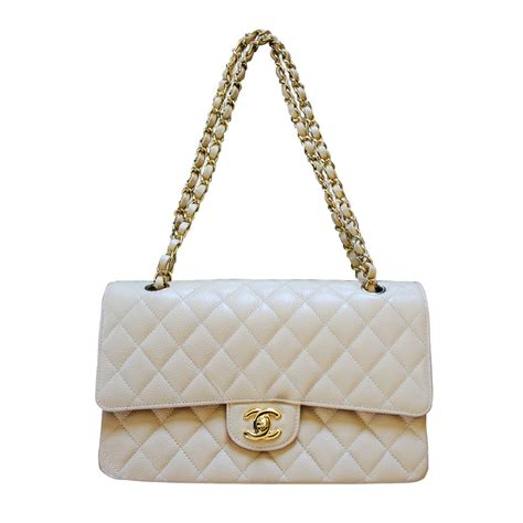 Chanel Flap chanel medium beige flap caviar classic flap bag in box no 19