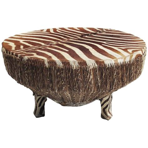 Zebra Side Table Zebra Hide Drum Coffee Or Side Table At 1stdibs