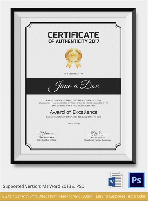 authenticity certificate template sle certificate of authenticity template 36