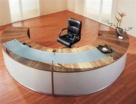 Semi Circle Reception Desk Half Laminate Desk With Floating Glass Transaction Counter Reception Desk