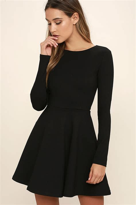 cute black dress long sleeve dress skater dress