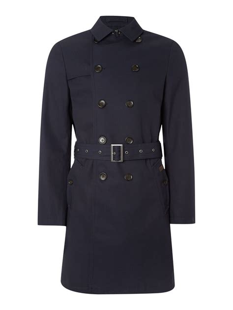 ben sherman breasted twill trench coat in blue for navy lyst