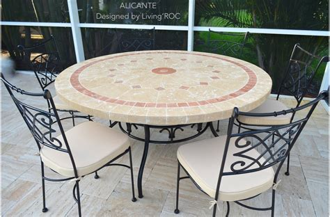 Mosaic Top Patio Table 125 160cm Outdoor Mosaic Table Top Alicante
