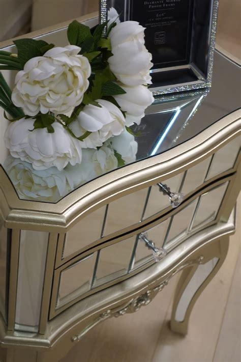 Sophia Bedside Table Champagne Gold Trim   Living Room