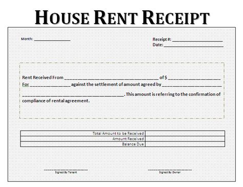 Rent Receipt Format   Free Printable Business and Legal Forms