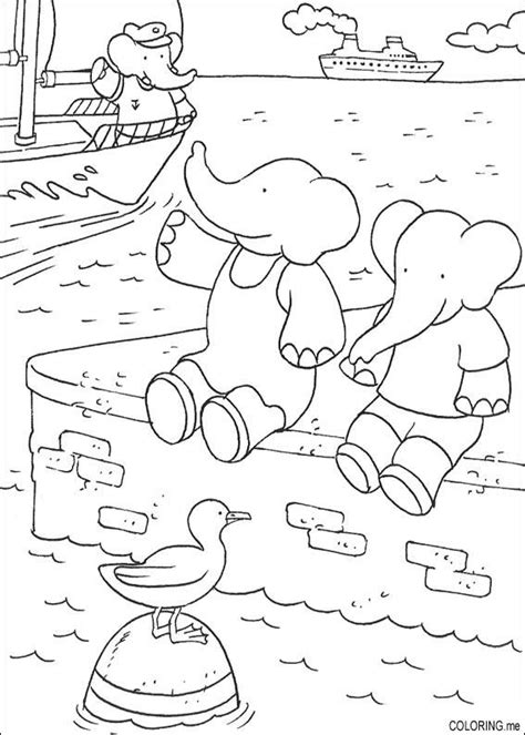coloring page babar pom alexandre coloring me