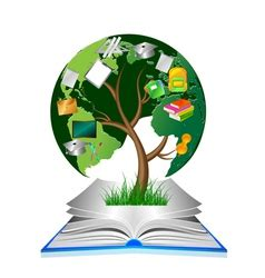 social network education concept pencil tree vector image