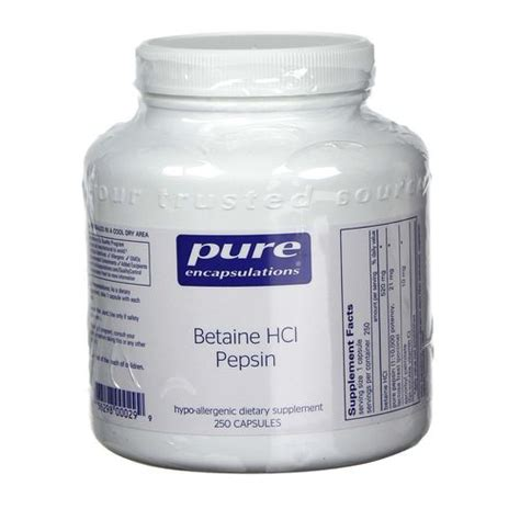 Betaine Hcl Detox by Encapsulations Betaine Hcl Pepsin 250 Capsules