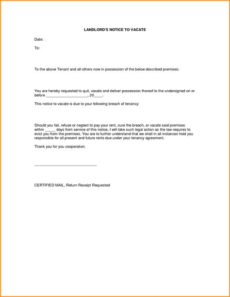 notice to vacate template letter notice to vacate letter 8558 png letterhead template sle