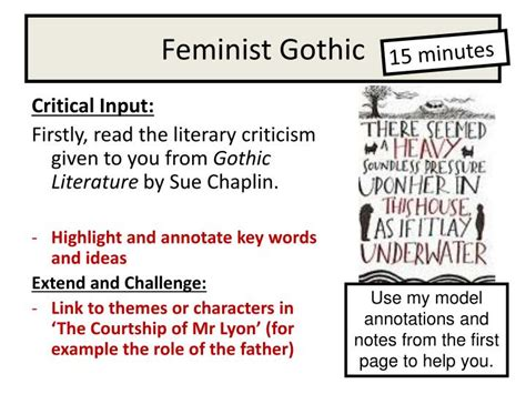 key themes in gothic literature ppt the courtship of mr lyon powerpoint presentation