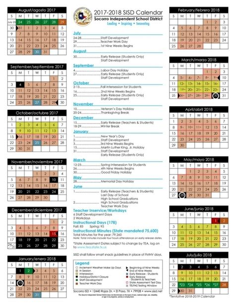 socorro independent school district calendar printable