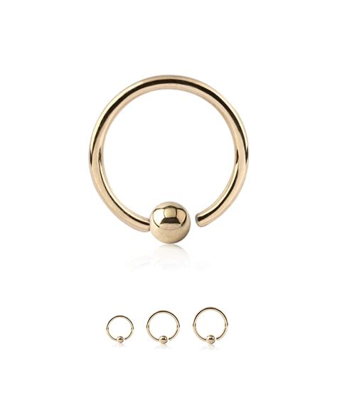 captive bead nose hoop 14kt yellow gold fixed captive bead nose hoop