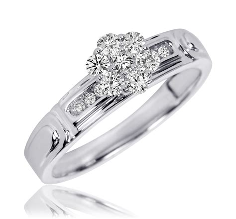3 8 carat t w trio matching wedding ring set 10k