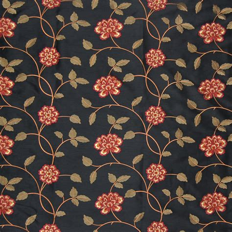 black floral upholstery fabric ebony black floral faux silk drapery and upholstery fabric