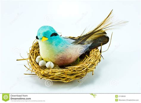 Handcrafted Birds - handmade bird in the handmade nest royalty free