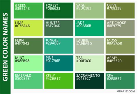 different names of green list of colors with color names graf1x com