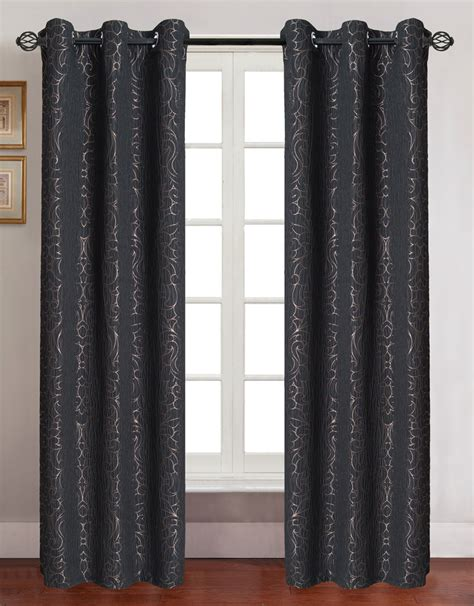 curtain panels with grommets pair of georgia black jacquard window curtain panels w