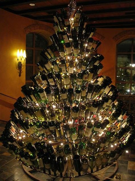 wine bottle christmas tree recycled ideas recyclart