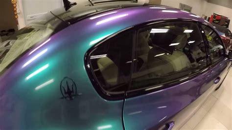 maserati turquoise car wrap gloss chameleon turquoise lavender maserati