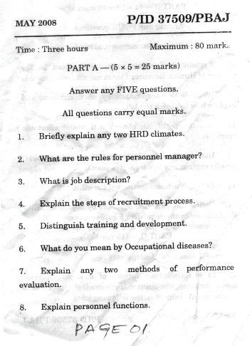 Human Resource Management Questions And Answers For Mba by Of Madras Human Resource Management Ide