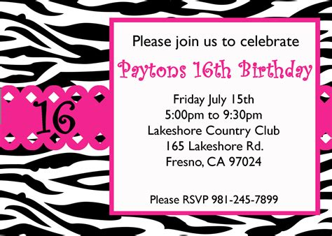 sweet 16 invitation card templates free sweet 16 birthday invitations templates free