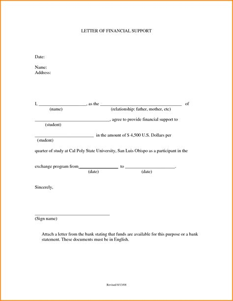 Financial Support Declaration Letter Sle For Support Template 28 Images Child Support Agreement
